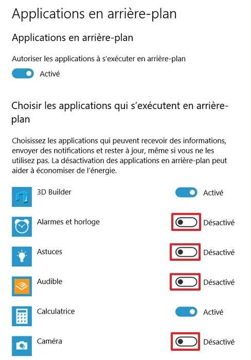 Procédez à la sélection des applications qui ne doivent plus s'exécuter en arrière-plan. © Microsoft