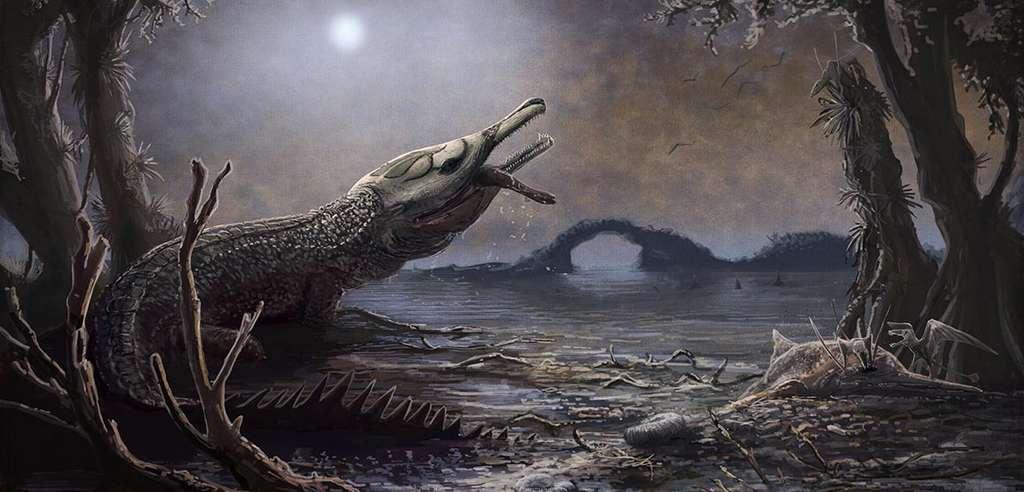 Le crocodile de Lemmy vient d'attraper une proie. © Mark Witton, NHM