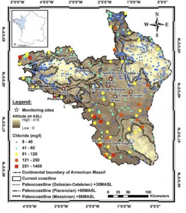 Distribution des paléocôtes correspondant aux trois transgressions. © CNRS