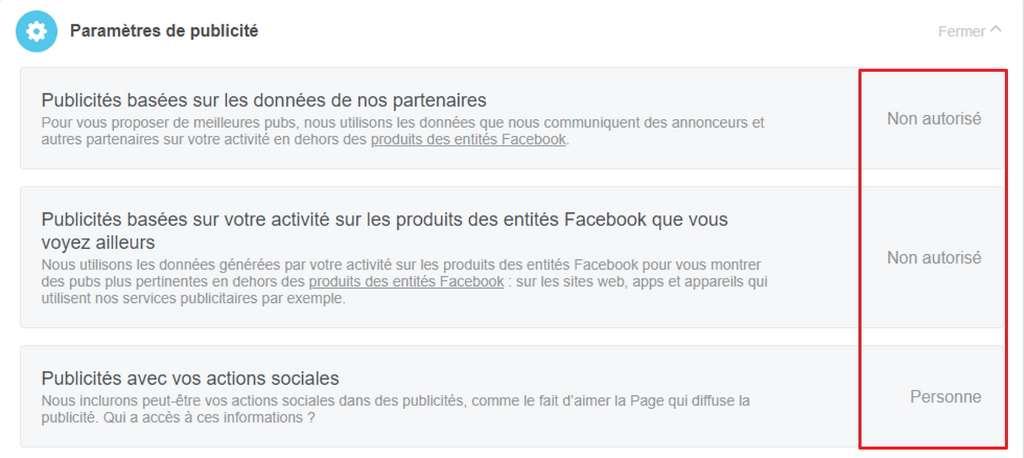 Définissez si votre activité Facebook peut être utilisée pour vous proposer de la publicité ciblée. © Facebook