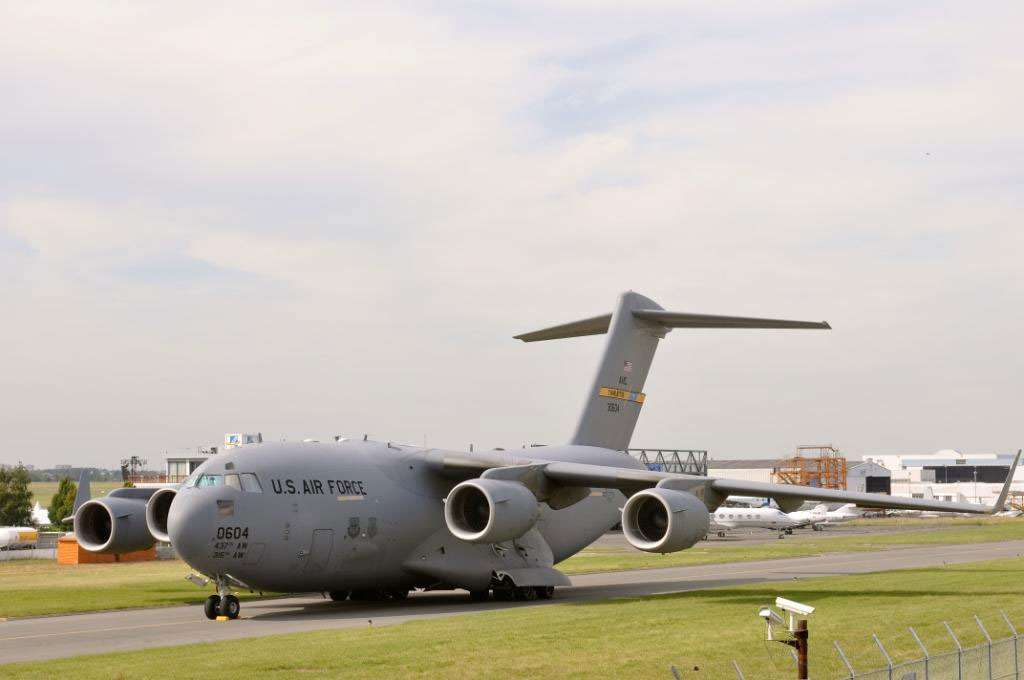 Un C-17, avion de transport militaire de l'US Air Force