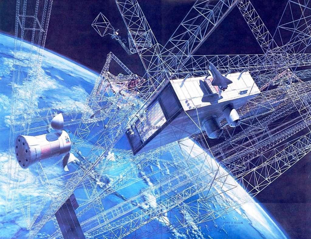 Une vue d'artiste de la construction d'une station spatiale solaire en orbite géostationnaire. © John Olson