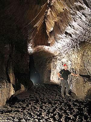 Richard Oslisly dans la grotte Mugumbi, au cours de l'expédition Abanda 2010, qui a bénéficié d'un important soutien logistique de la Fondation Iguéga, du docteur Marco Marti et de l'IRD. © Olivier Testa