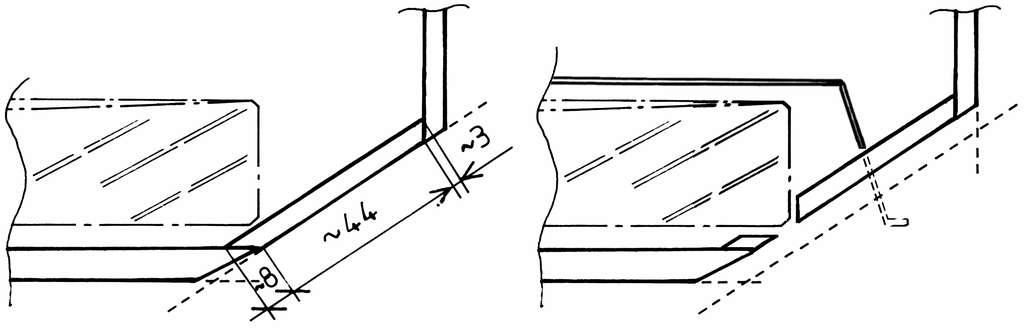 Schémas du pan coupé théorique (à gauche) et d'un pan coupé adapté (à droite). © P. Strock.
