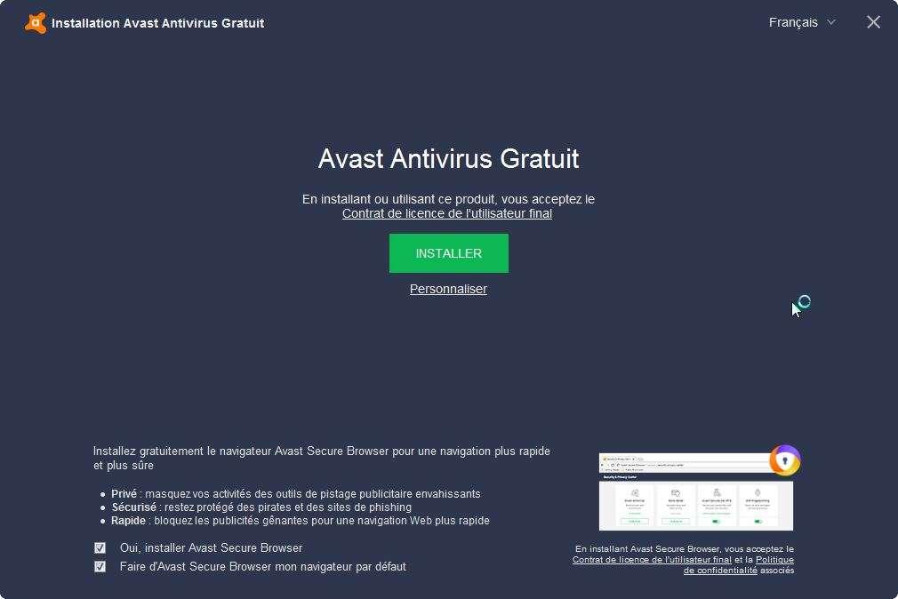 Premier écran d'installation d'Avast Gratuit. © Avast Software