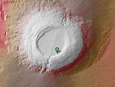 Arsia Mons, vu par Google Mars (infrarouge). © Nasa/JPL/Arizona State University
