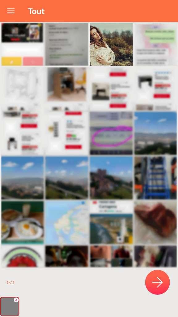 Écran de sélection de la photo. © Effacer les antécédents