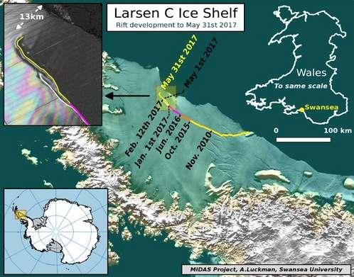 Ici, une illustration montrant l'évolution de la faille qui fissure la barrière de glace de Larsen C. Au 31 mai 2017, seuls 13 kilomètres la séparaient de l'océan. En haut à droite, une carte du Pays de Galles (Wales), à la même échelle, pour comparaison de taille… © Midas Project, University of Swansea