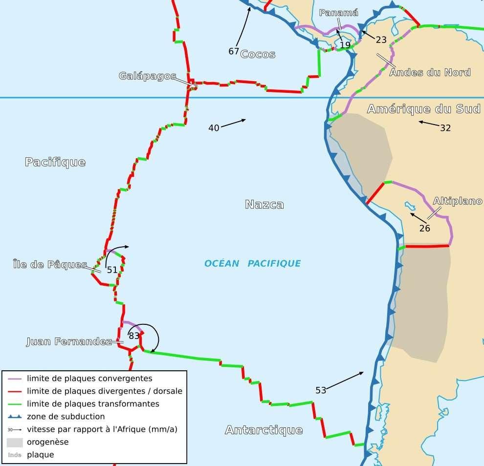 Dans la région étudiée au nord-ouest de l'Amérique du Sud, la plaque de Nazca subduit sous la plaque sud-américaine. C'est donc une région tectonique active qui engendre régulièrement des séismes. © Sting, Rémih, Wikipédia, cc by sa 2.5