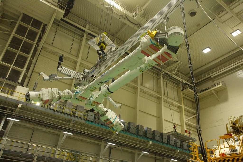 Le bras robotique ERA de l'ESA. Ce bras symétrique est composé de deux bras, de deux coudes ainsi que de deux poignets et mains. Il a été réalisé par un consortium européen dirigé par Airbus. © Roscosmos