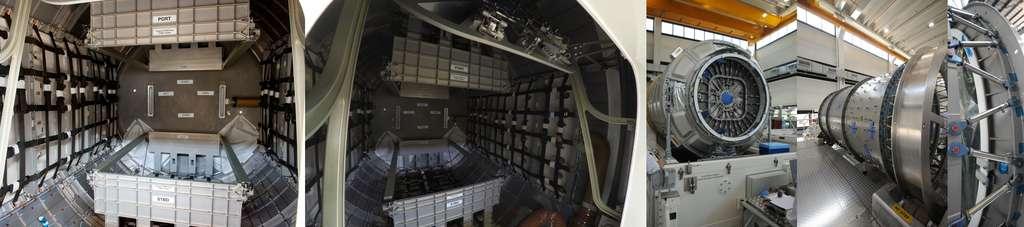L'intérieur du deuxième module pressurisé du Cygnus et son sas d'entrée. À droite, gros plan sur les biellettes qui permettent de relier le module au module de service construit par Orbital Sciences. © Rémy Decourt