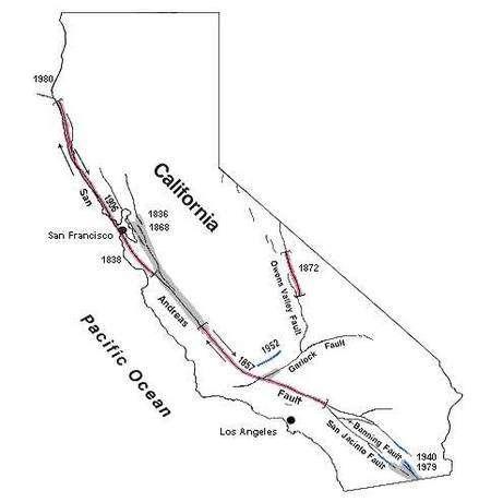 Le réseau de failles dit de San Andreas coupe la Californie par une ligne passant par San Fransisco et Los Angeles. Les deux plaques tectoniques jointives glissent l'une contre l'autre. Du côté de l'océan Pacifique (à gauche sur la carte), la plaque monte à peu près vers le nord). En rouge sont figurées les zones affectées par les grands tremblements de terre de 1857, 1872 et 1906. © Sandra S. Schulz et Robert E. Wallace/USGS
