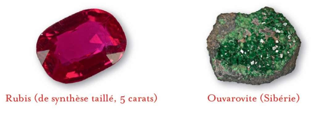 Des éléments comme le chrome fournissent des nuances colorées qui dépendent de la structure du minéral. © Dunod, DR