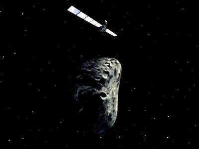 Survol d'astéroïde par Rosetta. Crédit Esa