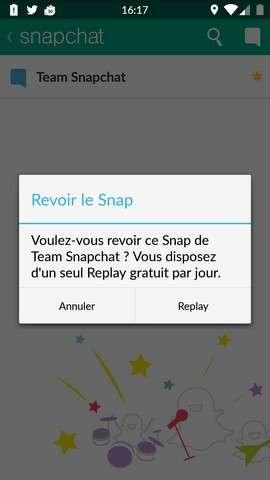 Snapchat offre la possibilité de relire gratuitement un message éphémère par jour, pas plus. © Futura