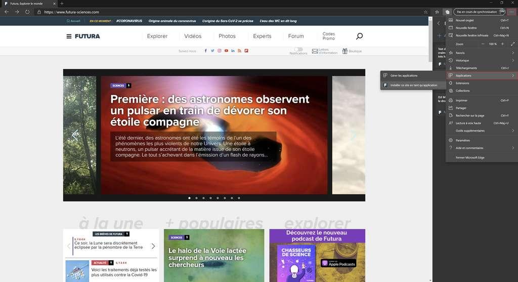 Nouveau Microsoft Edge : Installation d'un site en tant qu'application. © Microsoft