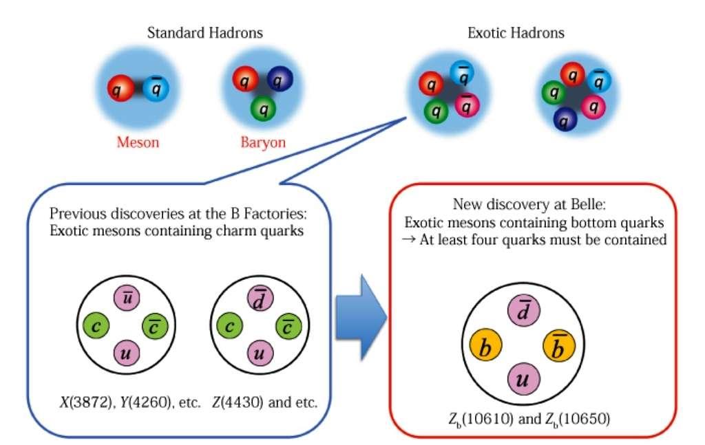 Les mésons sont constitués d'un quark et d'un antiquark alors que les baryons contiennent trois quarks. Les mésons exotiques découverts depuis quelques années contiendraient quatre quarks mais il semble plus naturel de les concevoir comme des états moléculaires liés de diquarks. On a représenté à gauche les états qui seraient construits avec des quarks charmés (c) et à droite ceux avec des quarks beaux (b). © KEK