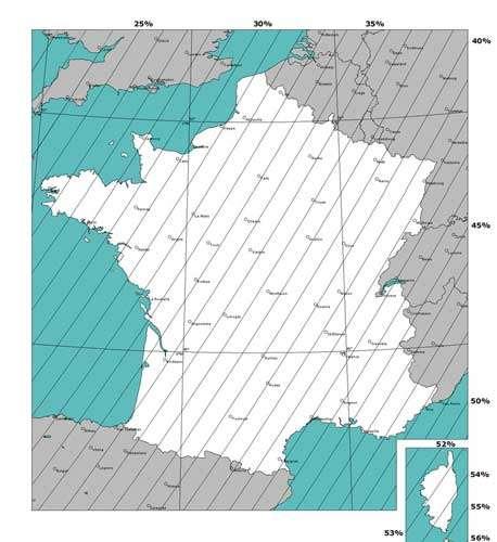 Fig. 3 : Grandeur de l'éclipse à sa phase partielle maximale pour l'ensemble du territoire français © Reproduction et utilisation interdites.