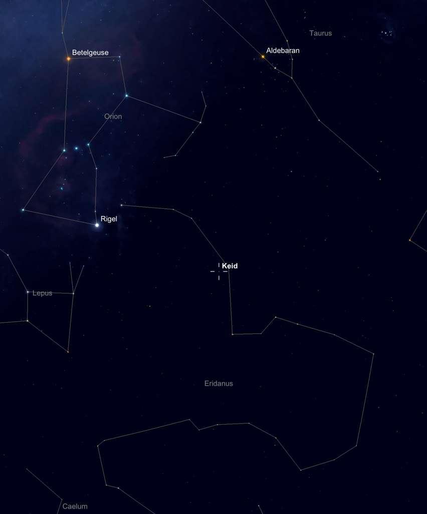 40 Eridanus A est une des trois étoiles du système triple 40 Eridanus — ou Keid — visible à l'œil nu au sein de la constellation du fleuve Éridan (Eridanus), en dessous du Taureau (Taurus) et à l'ouest du Lièvre (Lepus) et de Rigel, le pied d'Orion. © SkySafari