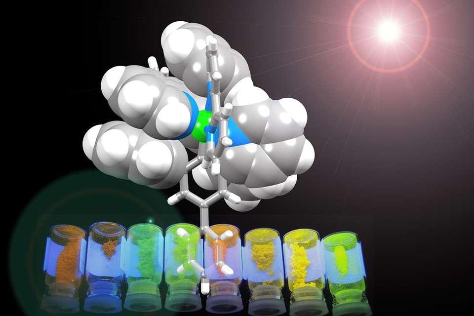 L'iridium, qui est ici au centre du dispositif Lec, est enveloppé d'une couche organique protectrice. La structure chimique précise de la couche organique permet de sélectionner la couleur de la lumière émise. © Université de Bâle