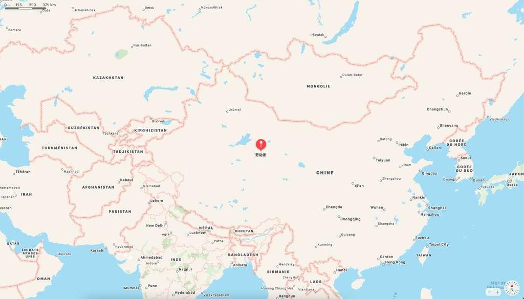 La ville de Lenghu est située sur le plateau tibétain dans la province du Qinghai en Chine. © Apple Plans