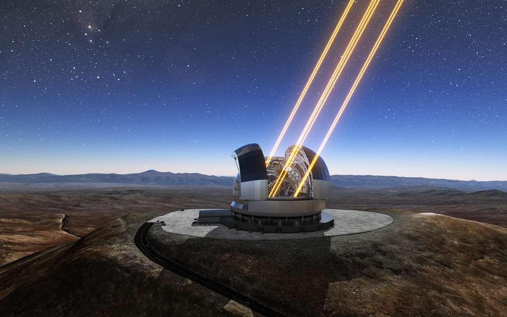 Sur cette vue d'artiste figure l'Extremely Large Telescope en opération depuis le sommet du Cerro Armazones au nord du Chili. Le télescope utilise des lasers pour créer des étoiles artificielles dans la haute atmosphère. Michelle Bachelet Jeria, Présidente du Chili, a assisté à la cérémonie de pose de la première pierre du télescope, le 26 mai 2017. © ESO, L. Calçada