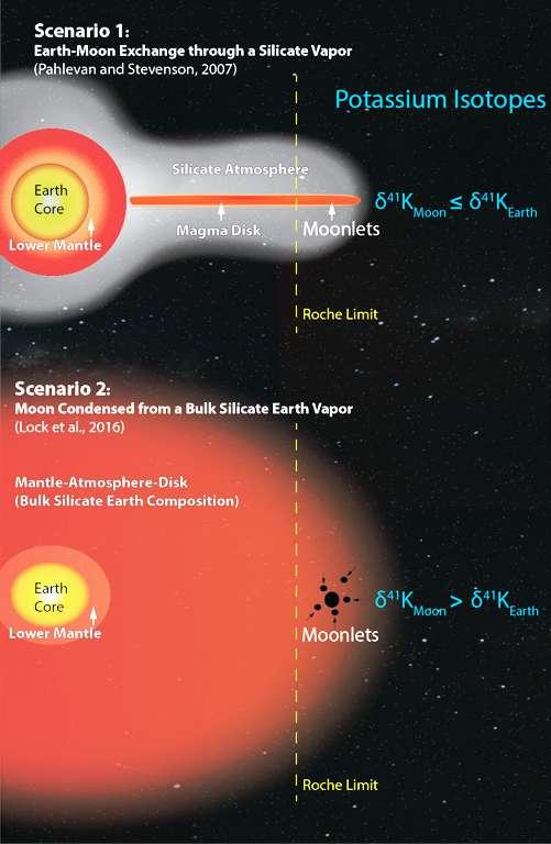Deux scénarios proposés pour expliquer les abondances d'isotopes oxygène identiques entre les roches lunaires et celle de la Terre mais que l'on peut départager en mesurant les abondances de certains isotopes du potassium (symbole chimique K). Pour plus de détails sur ces schémas, qui montrent que la formation de la Lune s'est faite au-delà de la fameuse limite de Roche, voir les explications ci-dessous dans le texte. © Kun Wang
