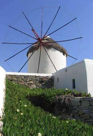 Bâtiments blanchis à la chaux, Mykonos.