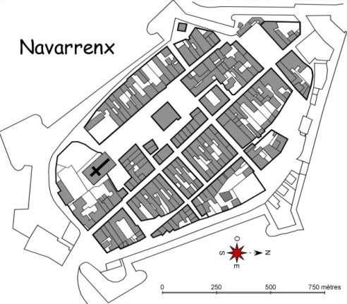Navarrenx, bastide située à la frontière du Pays basque, étape du chemin de Compostelle. © DR