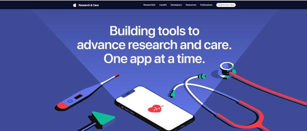 Pour réaliser ces expérimentations, les scientifiques exploitent les plateformes open source ResearchKit et CareKit proposées par Apple. La première permet de créer des applications d'études médicales, la seconde sert à assurer le suivi du patient. © Apple
