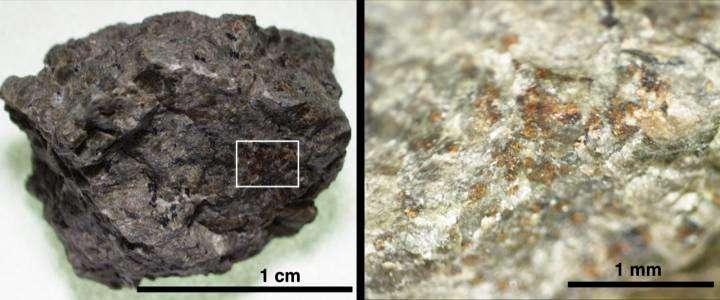 Un fragment de roche de la météorite martienne ALH84001 (à gauche). Une zone agrandie (à droite) montre des grains de carbonate de couleur orange. © Koike et al. (2020) Nature Communications