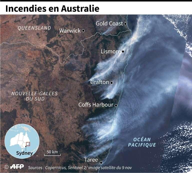 Localisation des incendies en Australie. © Patricio Arana, AFP