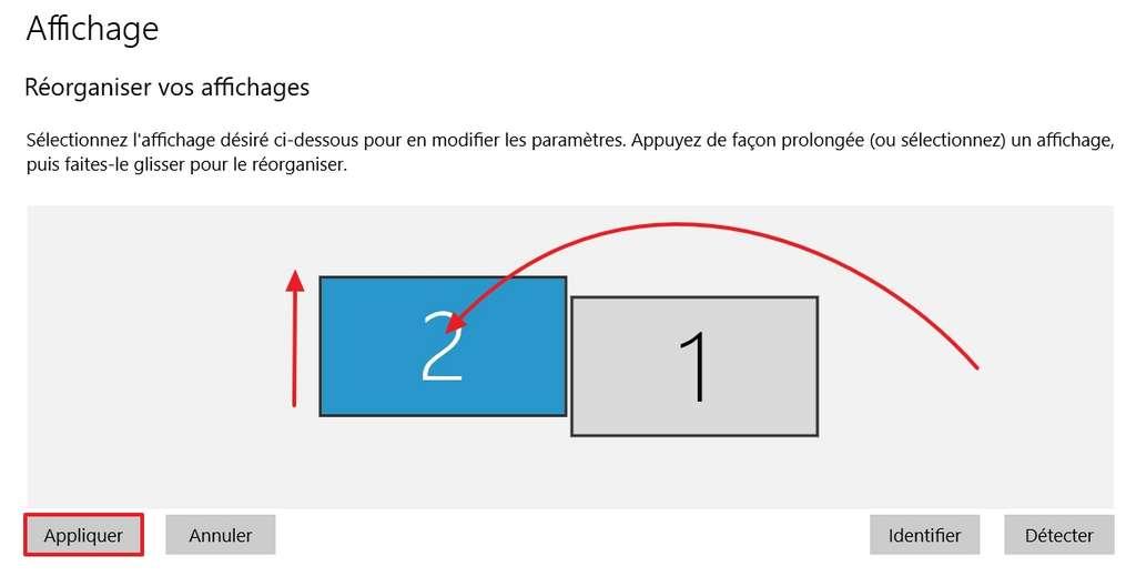 Vous pouvez modifier l'ordre de vos écrans et les ajuster verticalement. © Microsoft