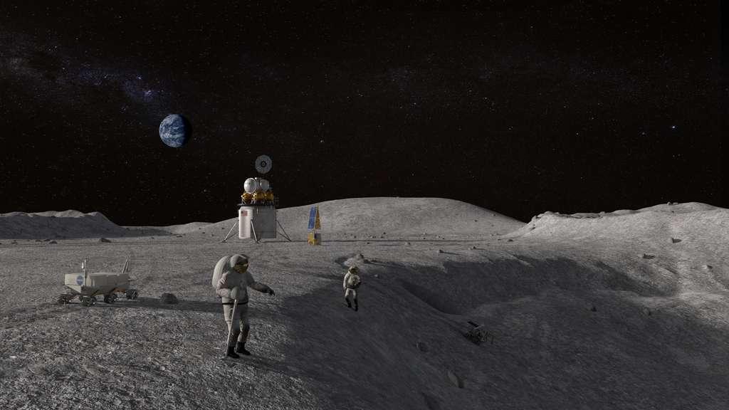 L'atterrissage au pôle sud est un objectif fixé par le vice-président Mike Pence en mars 2019 lors d'une réunion du Conseil national de l'espace, enjoignant la Nasa à avancer à 2024, plutôt que 2028, son retour sur la Lune. © Nasa