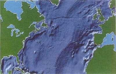 Le relief de l'océan Atlantique vu du satellite ERS-1 Radar Altimeter data. Photo © Carel Wakkers, TU Delft, the Netherlands