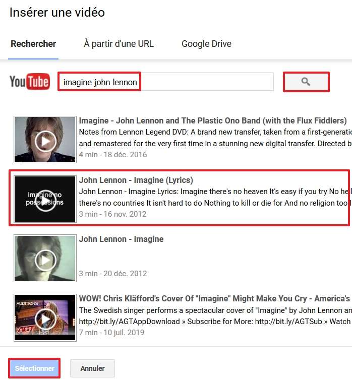 Cherchez sur YouTube le clip vidéo que vous désirez. © Google Inc.