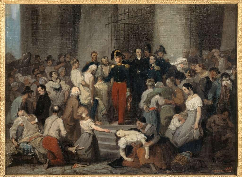 Le duc d'Orléans visitant les malades de l'Hôtel-Dieu pendant l'épidémie de choléra en 1832/ Alfred Johannot © Musée Carnavalet, Histoire de Paris