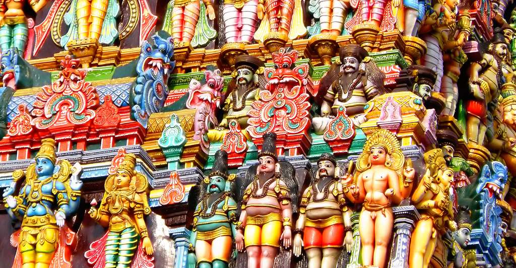 Sculptures au temple de Madurai Meenakshi. © Dr. Suchet Chaudhary, Wikimedia commons, CC by-sa 3.0