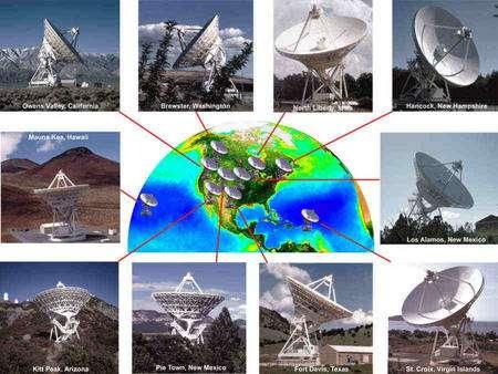Cliquer pour agrandir. L'ensemble des radiotélescopes du VLBA. Ils sont répartis sur presque un quart d'un hémisphère de la planète. Crédit : NRAO/AUI-SeaWiFS Project NASA/GSFC-ORBIMAGE