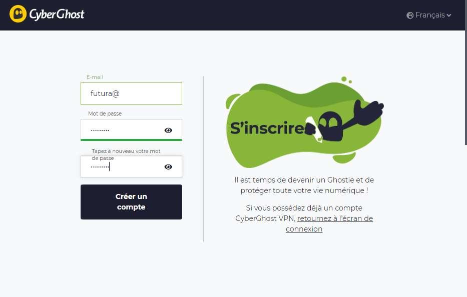 Créer votre compte CyberGhost VPN en ligne en quelques secondes seulement. © CyberGhost VPN