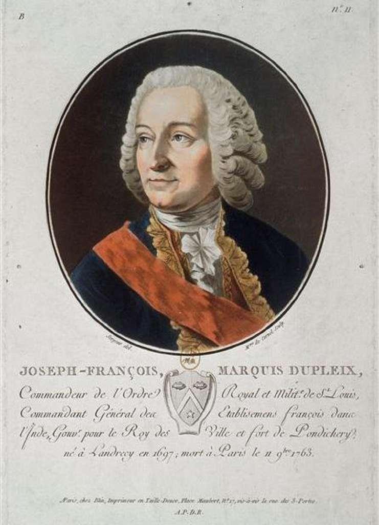 Estampe réalisée vers 1786, après la mort de Dupleix, par Sergent-Marceau. © Wikimedia Commons, DP