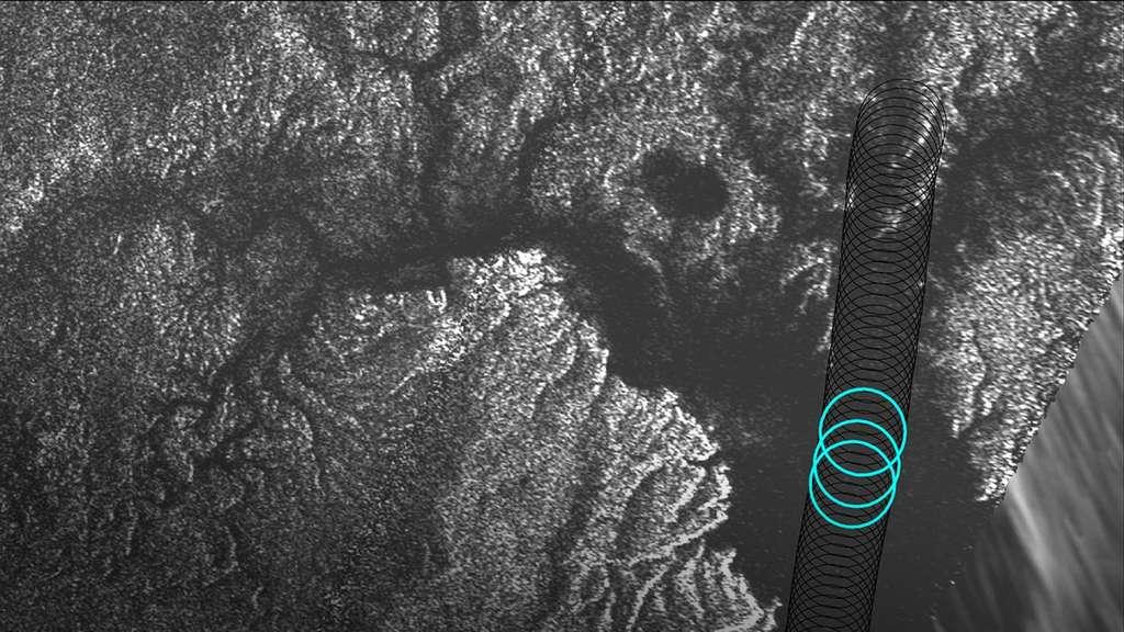 Mesures altimétriques réalisées par le radar de Cassini au-dessus de l'estuaire d'un fleuve qui se jette dans la mer d'éthane et de méthane liquides, Kraken Mare. À l'emplacement des trois cercles bleus, la profondeur a été évaluée à respectivement 27, 33 et 30 mètres. © Nasa, JPL-Caltech, Asi, Cornell