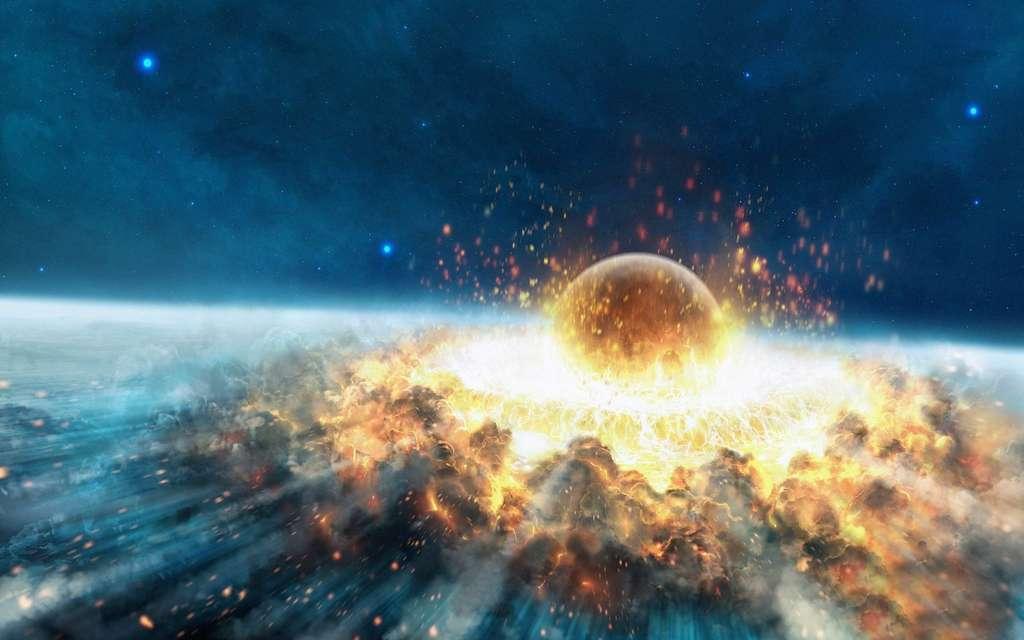 La chute d'un astéroïde de quelques dizaines de mètres, comme 2012 DA 14 qui a frôlé la Terre le 15 février dernier, serait moins cataclysmique que ce qu'évoque cette image. Mais elle pourrait détruire une ville entière ou provoquer un puissant raz-de-marée. © DR