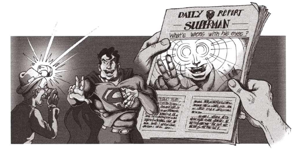Pour avoir une bonne vision nocturne, Superman est probablement doté d'un tapetum lucidum qui réfléchit fortement la lumière extérieure. On comprend pourquoi Superman évite d'être photographié ! © EDP Sciences