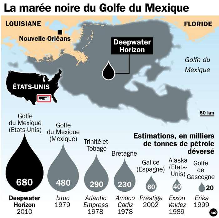 Rappel des quantités de pétrole déversé lors des principales marées noires de ces dernières années. Comparées à ces catastrophes, la fuite de l'oléoduc de Shell paraît bien faible, mais aura elle aussi des conséquences sur la vie marine. © Idé