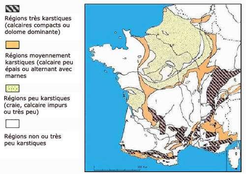 Carte du karst français. © DR