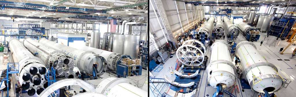 L'usine de Hawthorne en Californie, siège de SpaceX, où sont construits les lanceurs Falcon 9. © SpaceX