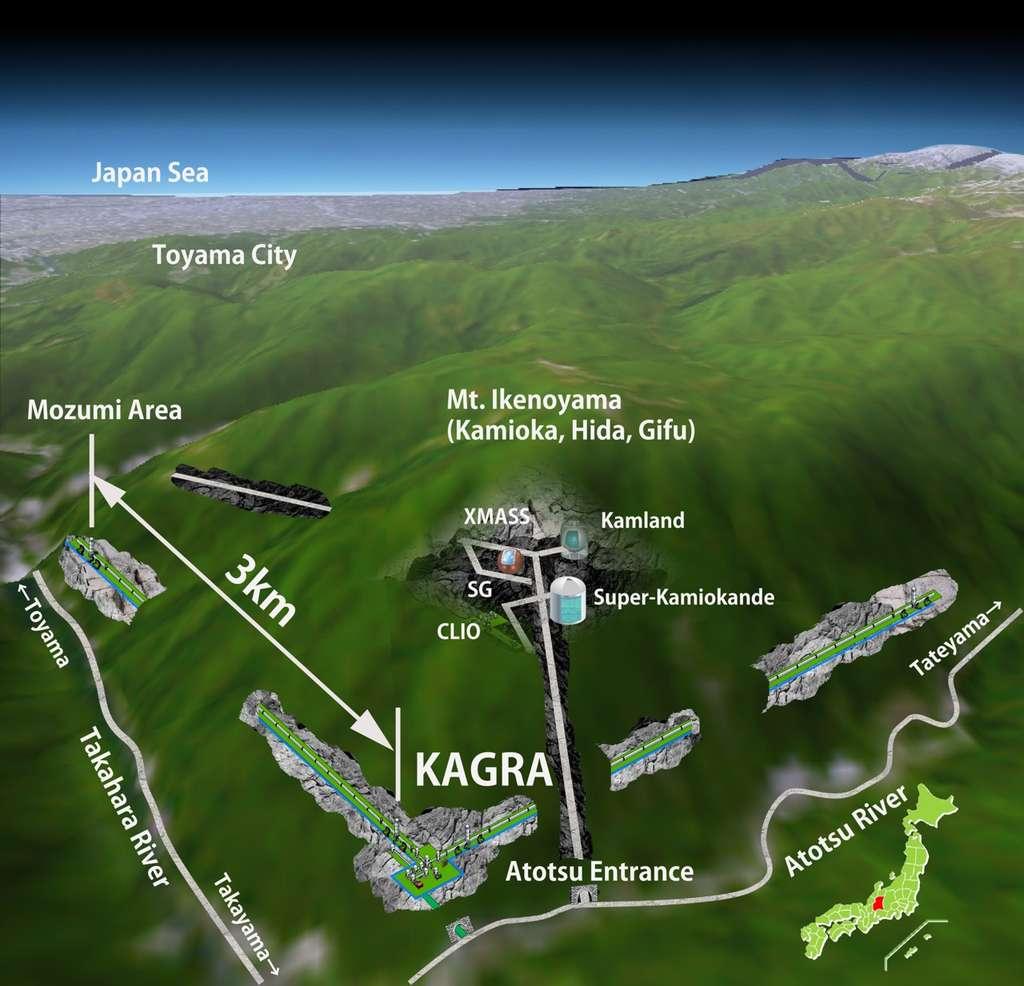 Avant de s'appeler Kagra, le détecteur d'ondes gravitationnelles de Kamioka s'appelait le Large Scale Cryogenic Gravitational Wave Telescope (LCGT). Comme on le voit sur ce schéma, il est installé au Japon au voisinage du détecteur de neutrinos Super-Kamiokande. © ICRR