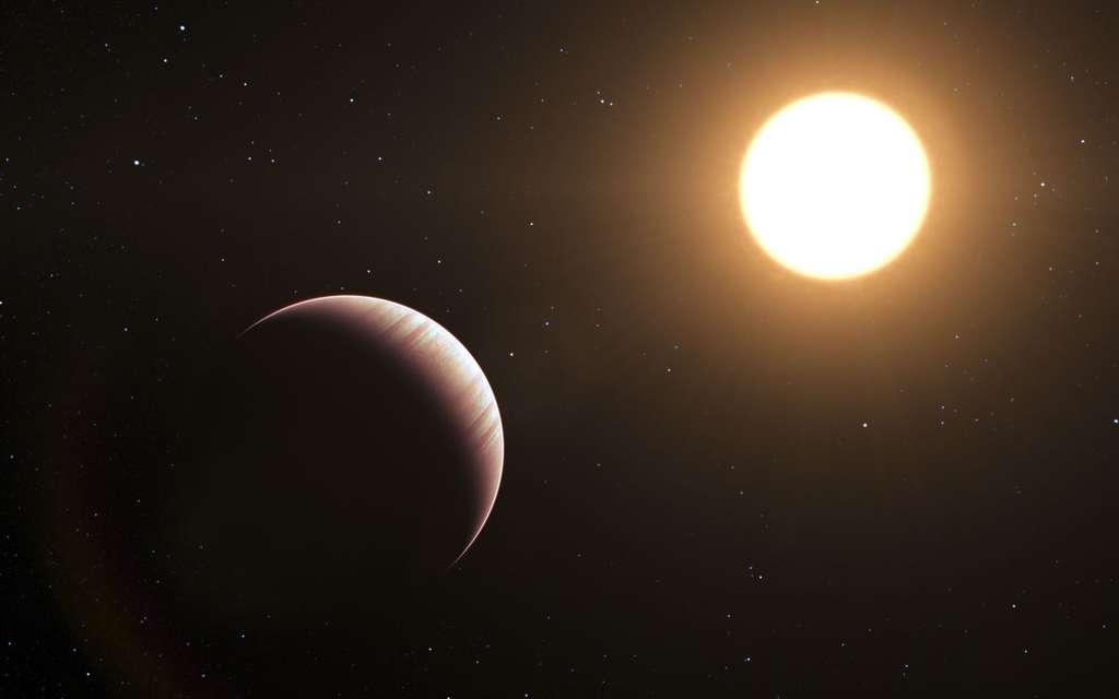 Cette vue d'artiste montre l'exoplanète Tau Bootis b, l'une des premières exoplanètes découvertes, en 1996. Elle est toujours parmi les exoplanètes les plus proches de la Terre connues à ce jour. © ESO/L. Calçada
