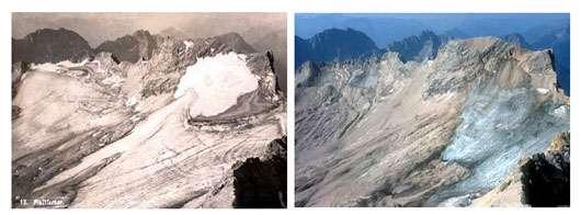 Schneefemer en 1910 (photo de gauche) et en 2003 (photo de droite). © DR, reproduction et utilisation interdites